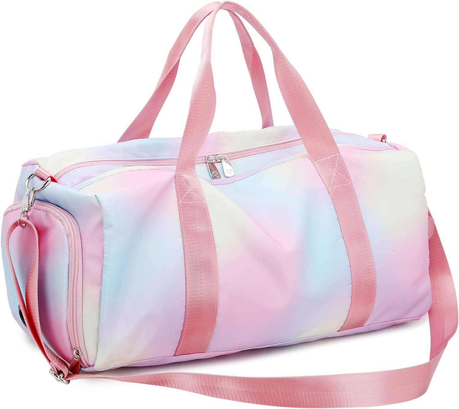Sport Gym Bag Large Travel Duffel Bag with Shoe Compartment Wet Pocket Pink