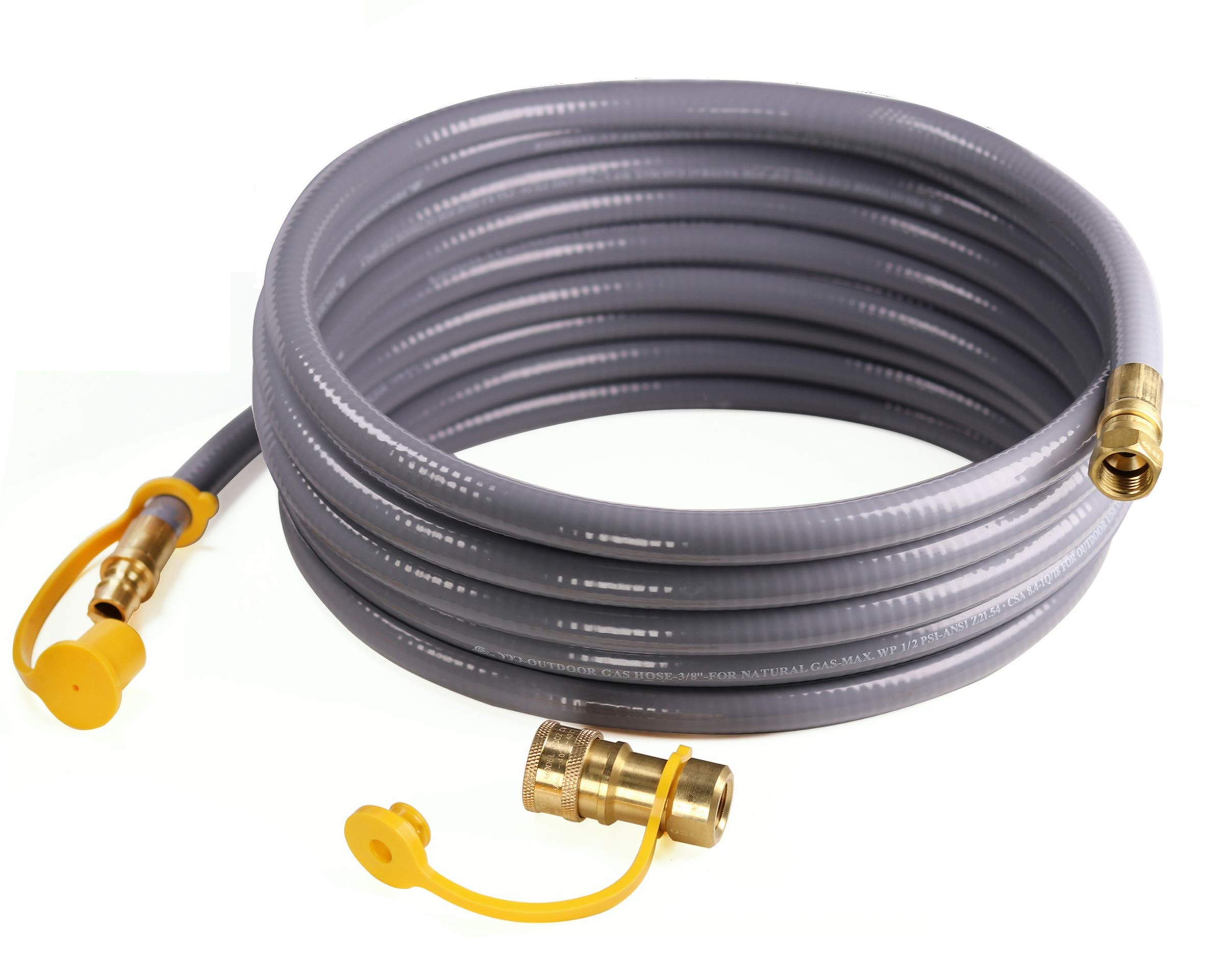 DOZYANT 12 Feet 3/8 inch ID Natural Gas Grill Hose with Quick Connect Propane Gas Hose Assembly for Low Pressure Appliance -3/8 Female Pipe Thread x 3/8 Male Flare Quick Disconnect - CSA Certified by DOZYANT