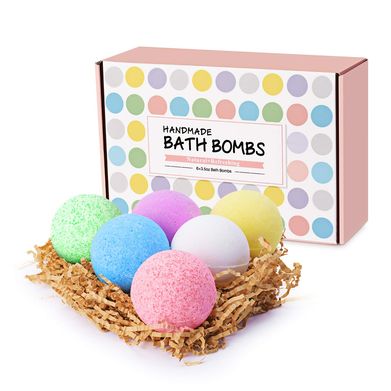 6 x 3.5oz Bath Bomb Gift Set, VicTsing lush Fizzy Spa Set with All Natural Essential Oils, Shea Butter, Sea Salt for Dry Skin, Spa Bubble Bath,Luxury Gift for Kids, Girlfriends, Women, Moms, Anniversary, Birthday.