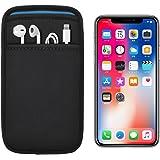 [ポケット付] iPhone X/XS 専用 JustFit. スリーブケース(ブラック&ブルー)専用設計だからジャストフィット! Lightningケーブルやイヤホンなどが収納出来るポケット付