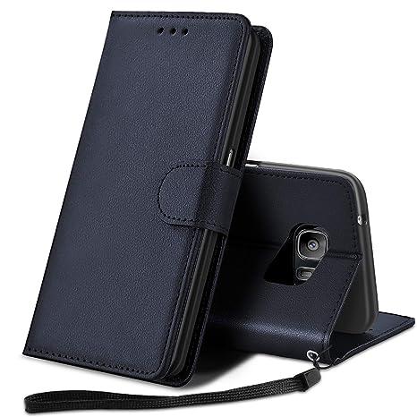 YPPET Funda Samsung Galaxy S7, Cuero PU Fundas para Samsung S7 Carcasa Case (Azul Oscuro)