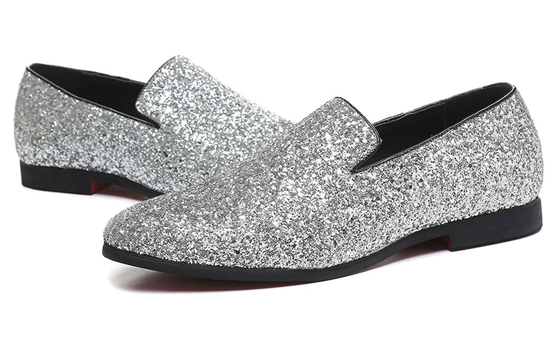 ba8512253c9ff Men Loafer Metallic Textured Slip-on Glitter Fashion Slipper Moccasins  Casual Dress Shoes Santimon Black Gold Silver