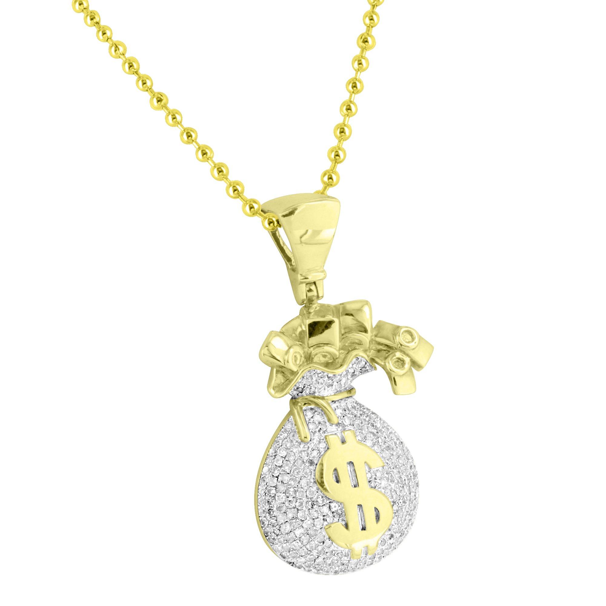 Money Bag Design Pendant 14k Gold Over Sterling Silver 1.19 CT Diamonds Bead Chain