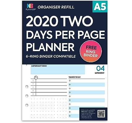 NBplanner 2020 - Recambios para agenda (tamaño A5), color 2 ...