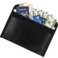 """MoKo Fireproof Documents Bag, 10.6"""" x 6.4"""" Envelope Holder, Explosionproof Safe Storage for Valuables, Documents, Money, Jewelry, Hook & Loop Closure for Maximum Protection, Black"""