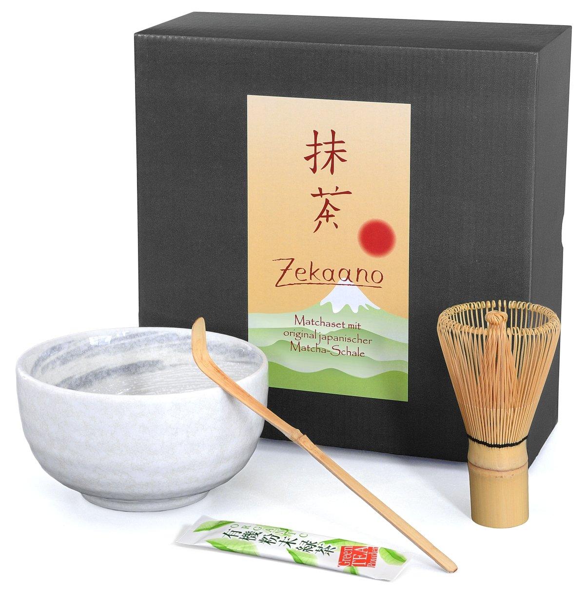 zekaano Matcha–Original Bol à matcha Chawan 450ml japonais avec matchabesen Chasen et cuillère en bambou Chas Haku, créative, blanc/gris, Ø 12,7cm, fait à la main Original Aricola® Ø 12