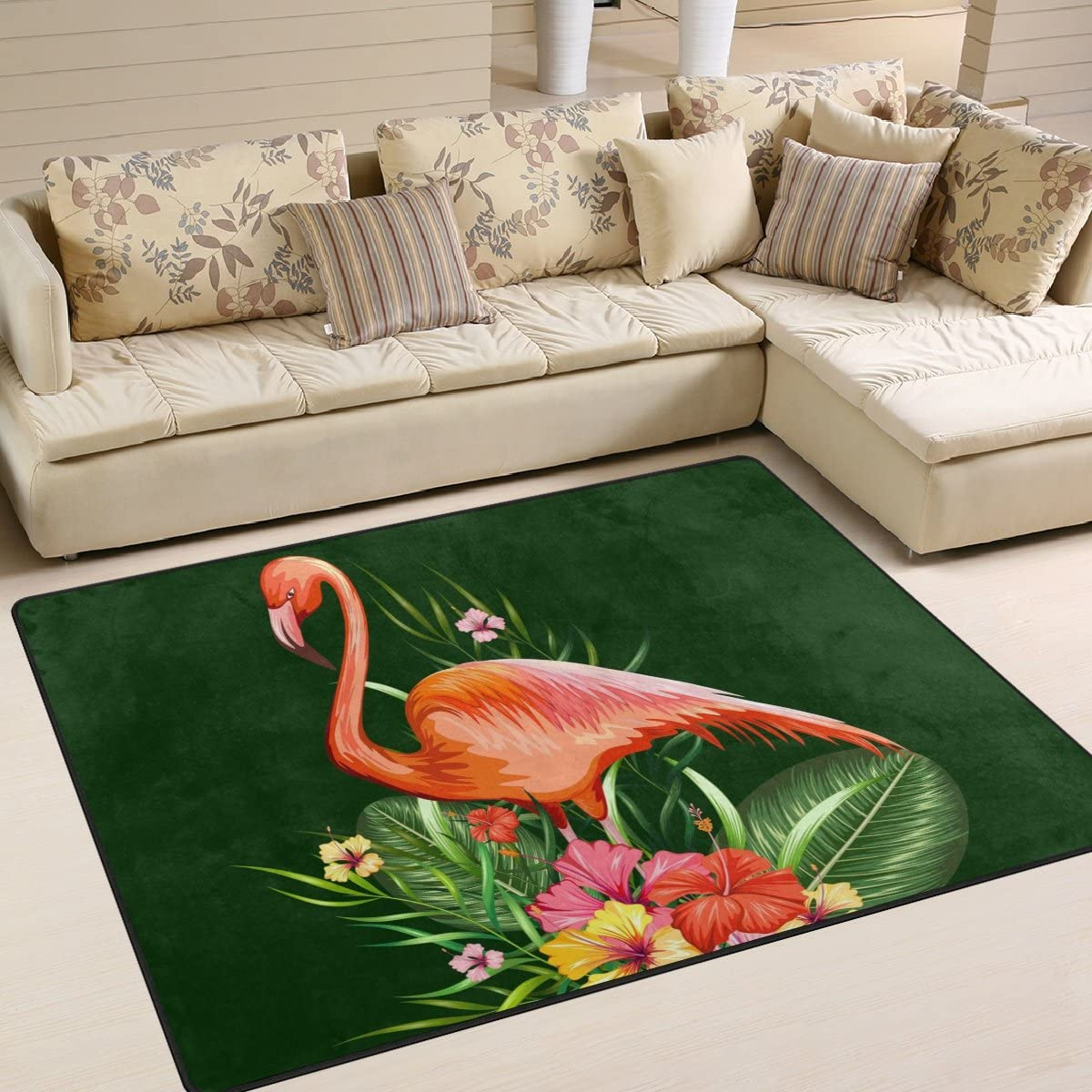 SAVSV Flamingo and Tropical Flower Pattern Printed Large Area Rugs,Lightweight Floor Carpet Use