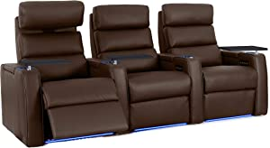 Octane Dream Leather Power Headrest & Power Recline Home Theater Recliners, Brown (Set of 3)