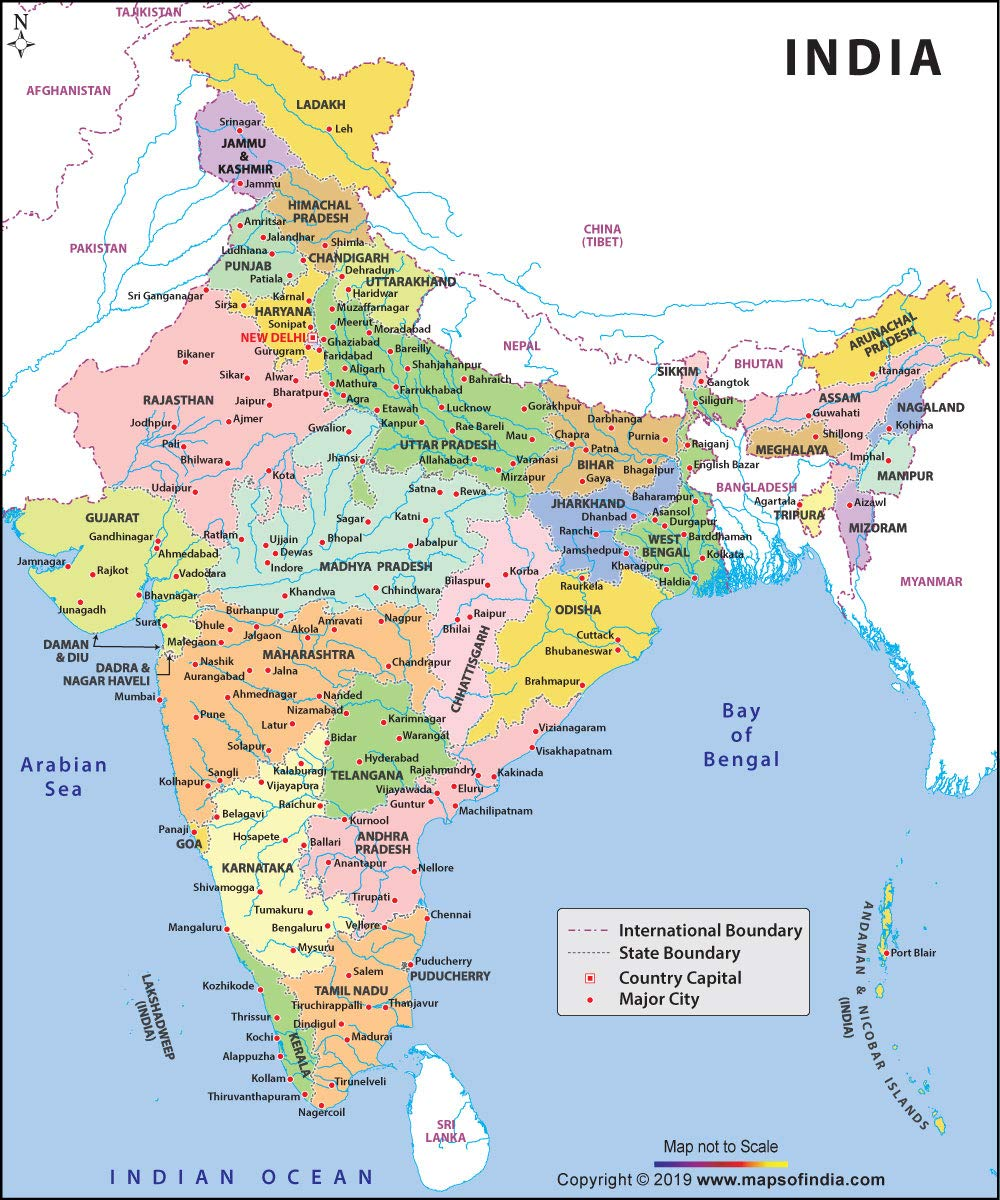 india all state map Buy Large Color Map Of India 36 W X 42 6 H 2019 New Edition india all state map