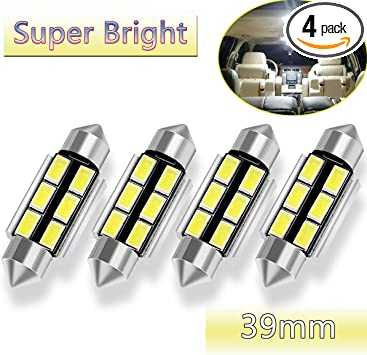 NAKOBO Bright 39mm Festoon 6500K White Light 6-SMD 3030 Chipsets Canbus Error Free for 6418 DE3425 DE3423 LED Bulb Car Interior Dome License Plate Door Lights White(pack of 4)