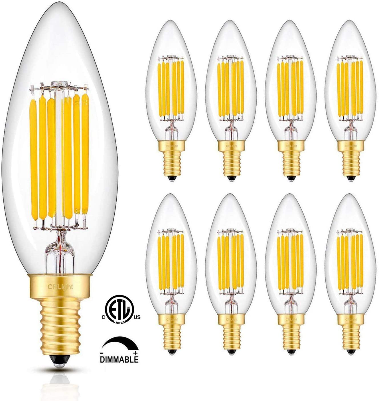 CRLight 6W 3000K Dimmable LED Candelabra Bulb Soft White, 65W Equivalent 650LM, E12 Base LED Filament Chandelier Light Bulbs, Antique Edison Clear Glass B10 Candle Decorative Bulbs, Pack of 8