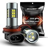 SEALIGHT H11/H8/H16 LED Fog Light Bulbs, 6000K Xenon White, 27 SMD Chips, 360-degree Illumination, Non-polarity, Pack of…
