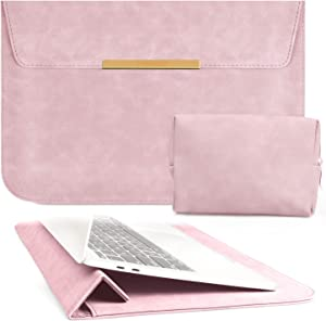 TOWOOZ 13.3 Inch Laptop Sleeve Case Compatible with 2016-2020 MacBook Air/MacBook Pro 13-13.3 inch/iPad Pro 12.9 / Dell XPS 13/ Surface Pro X, PU Leather Bag (13-13.3, Pink)