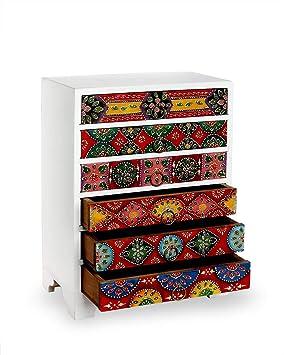 Store Indya,, Cajonera de madera con 6 compartimentos de ...