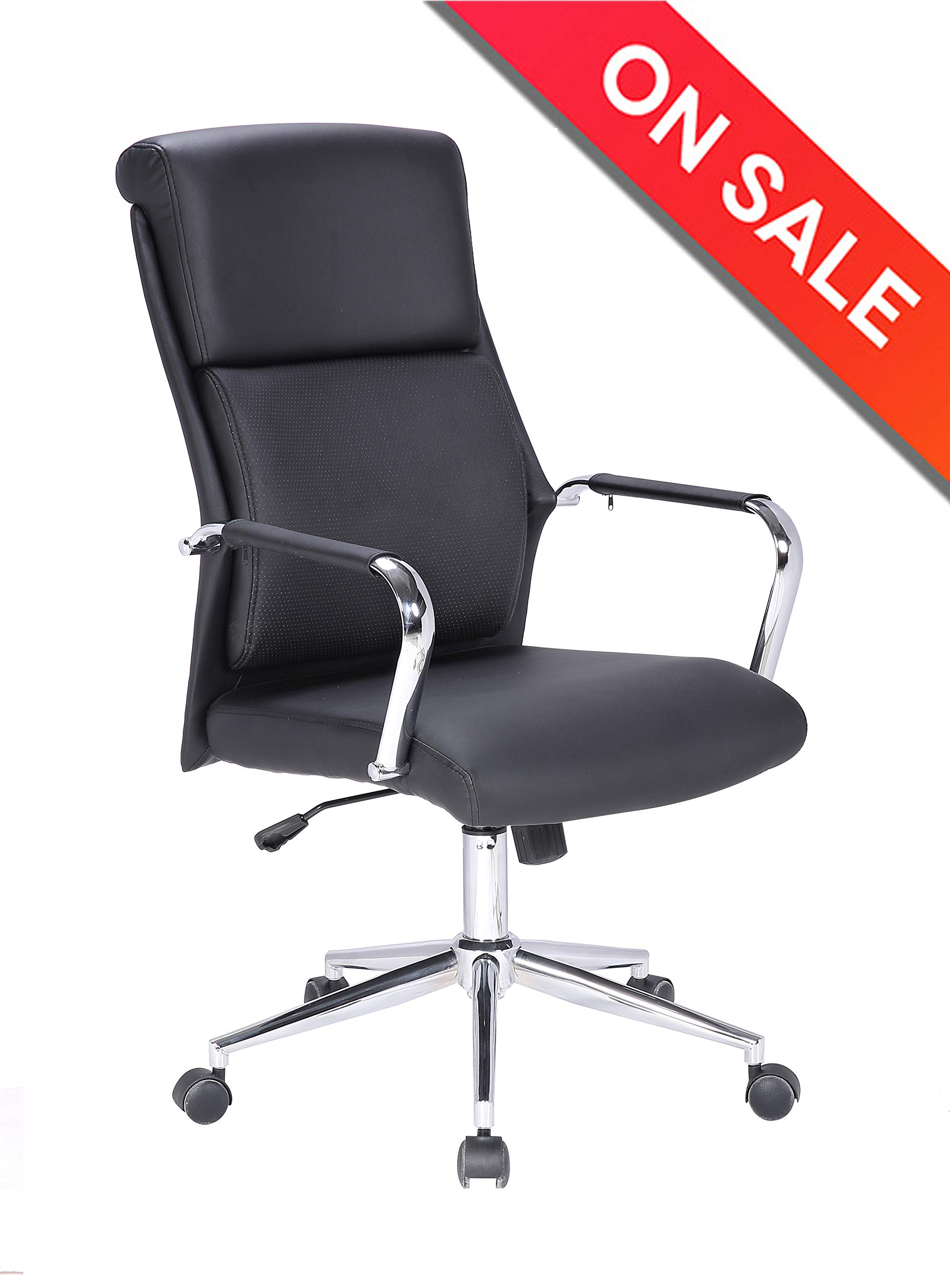 LCH High Back Leather Classic Office Chair with Adjustable Tilt Angle - Computer Desk Chair with Thick Padding for Comfort and Ergonomic Design for Lumbar Support by LCH