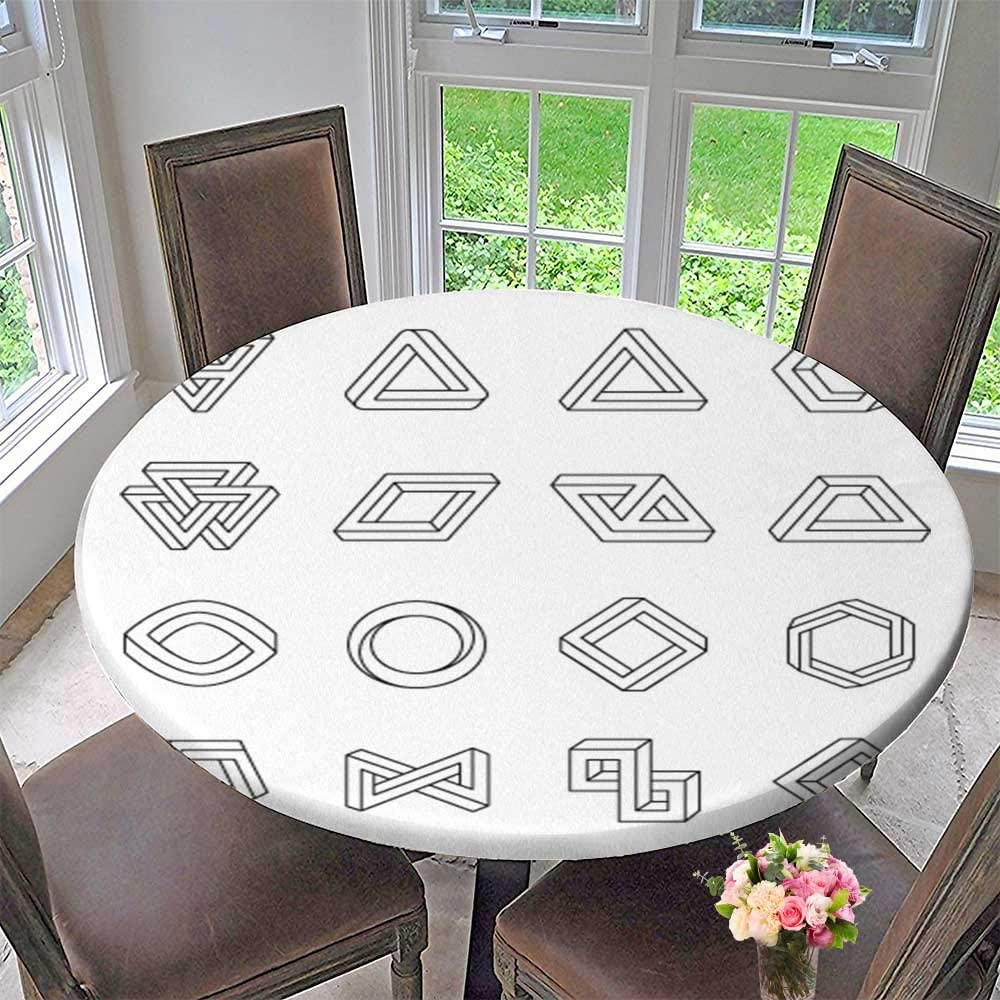 PINAFORE HOME The Round Table Cloth Impossible Shapes Optical Illusion Vector Isolated on White for Birthday Party, Graduation Party 39.5