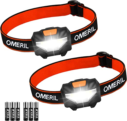 OMERIL Linterna Frontal LED (2 Pack), Super Brillante Linterna Cabeza (6 Pilas AAA Incluidas), 3 Modos de Luz, Impermeable Mini Frontal LED para ...
