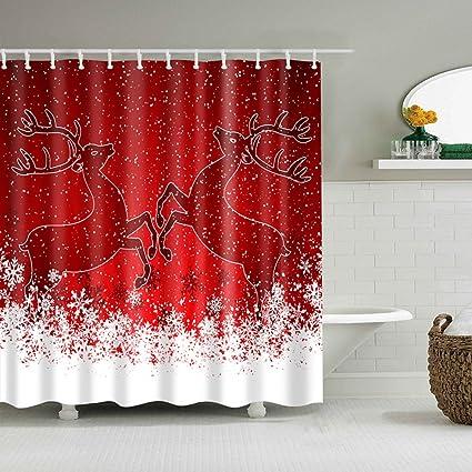 Amazon Jineams Christmas Shower Curtain Decoration