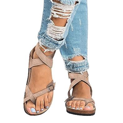 c854192ca302 Womens Gladiator Sandals Flip Flop Straps Summer T-Strap Thong Roman Flat  Shoes Khaki 5.5