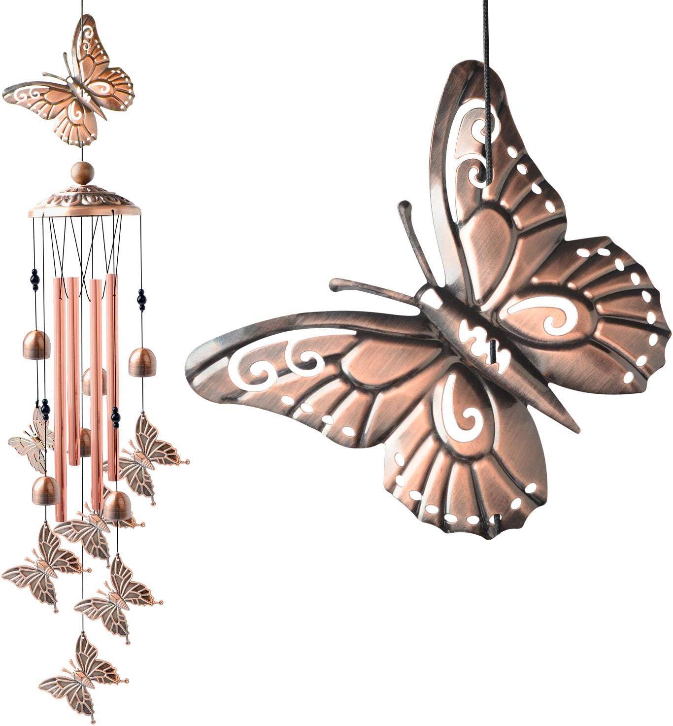 ShangTianFeng Butterfly Wind Chimes Retor Garden Decor Wedding Gift Best Mom Birthday Gift Metal Romantic Housewarming Gift Butterfly Windchimes