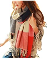 POSESHE Women's Fashion Long Shawl Big Grid Winter Warm Lattice Large Scarf