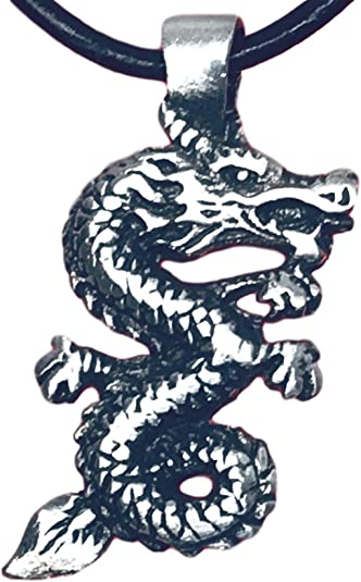 Gothic Dragon Pewter Pendant ~ 18+4 inch extender Chain