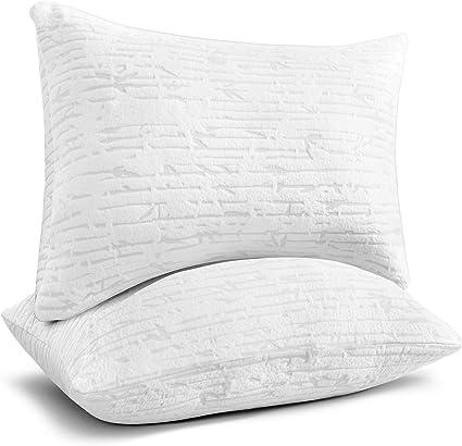 clara clark shredded memory foam pillow queen pillow for sleeping adjustable memory foam pillow with washable case firm memory foam pillow set of 2