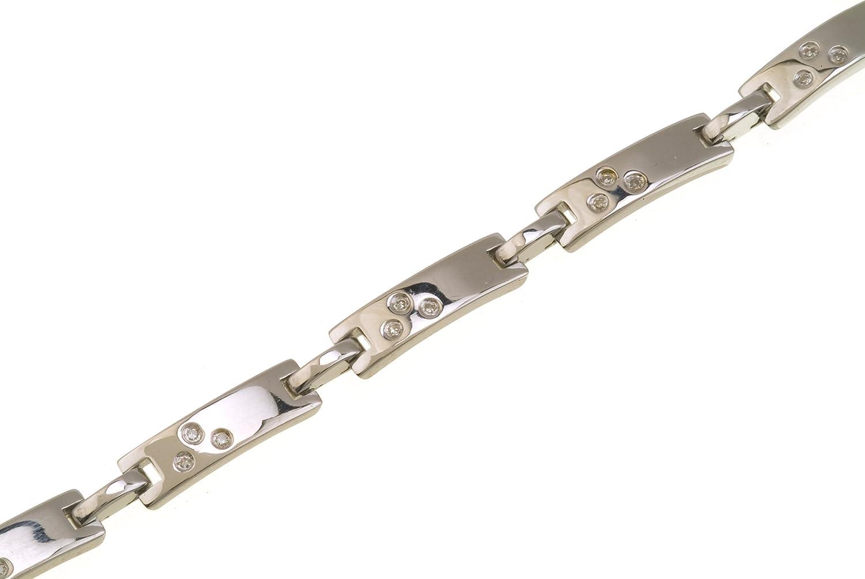 0e07f1cc8f9e Naava Pulsera para Mujer de Plata de Ley con 21 Diamantes 18 cm  Amazon.es   Joyería