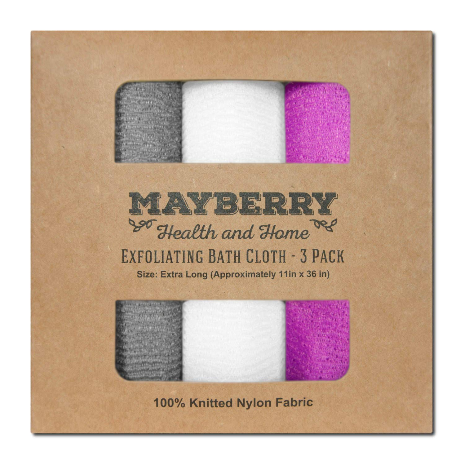 Extra Long (36 Inches) Exfoliating Bath Cloth (3 Pack) Gray, White, and Magenta Nylon Bath Towel, Stitching on All Sides for Added Durability by Mayberry Health and Home