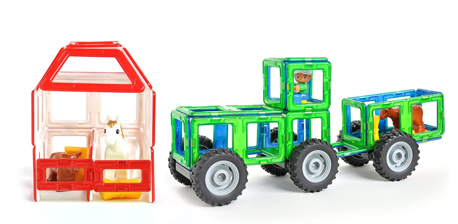 Magnetic Tile Tractor and Farm Set - 44 Tiles, Complete with Farmer and Animals, Great Toy for Boys and Girls, Teach Creativity Building Barns and Tractors, More Fun than Blocks Review