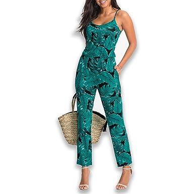 97f9d67f893a9 SUNNOW Mujer Verano Hoja Impresión Spaghetti Strap Pantalones Largos Suelta  Ajuste Monos (XL