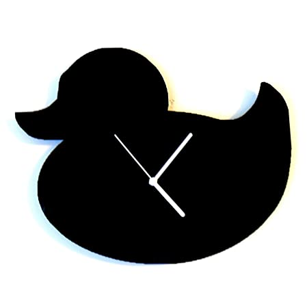 rubber duck silhouette wall clock amazon co uk kitchen home