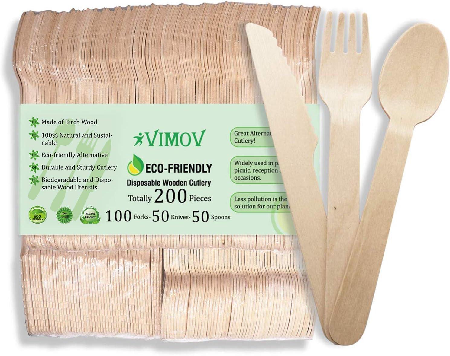 VIMOV 200 Pieza Cubiertos de Madera Desechables, Utensilios Biodegradables para Fiestas, Camping, Picnic, Barbacoa, Evento (100 Tenedores de Madera, ...