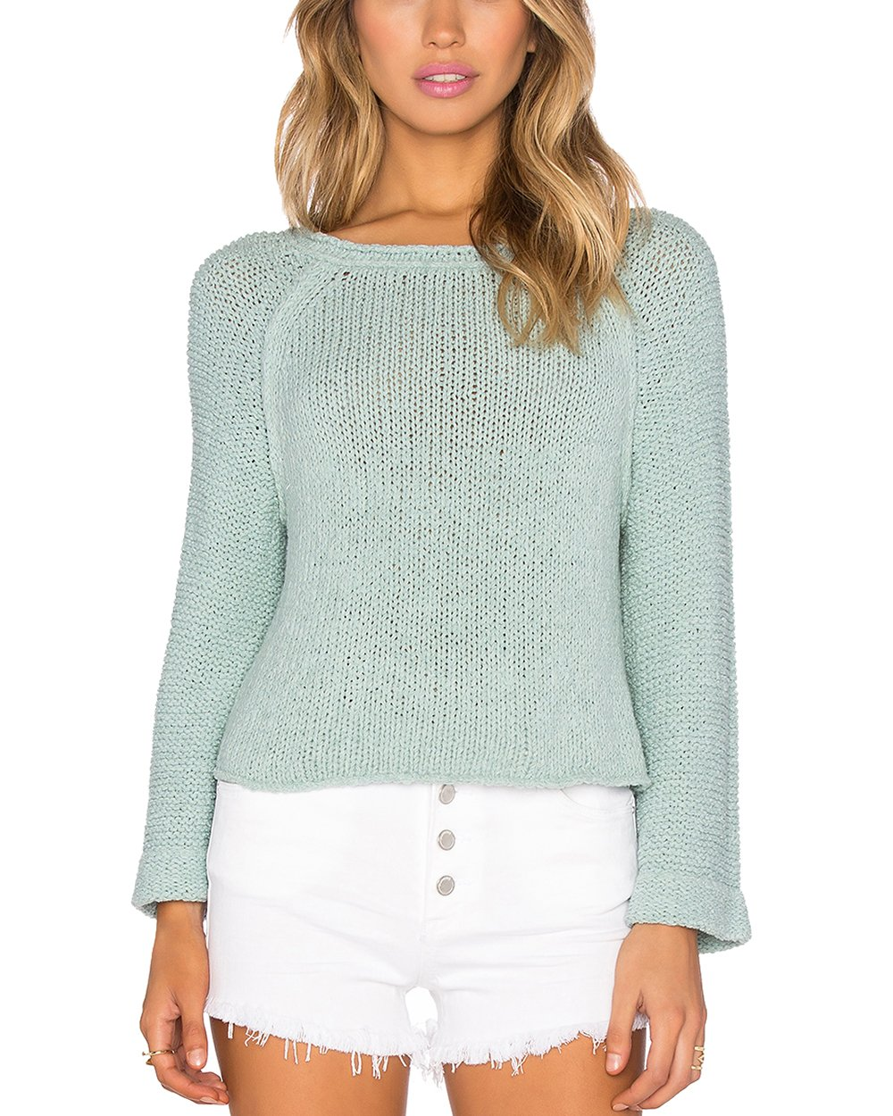 Free People Women's Endless Stories Open Back Crop Sweater (Blue, Large)