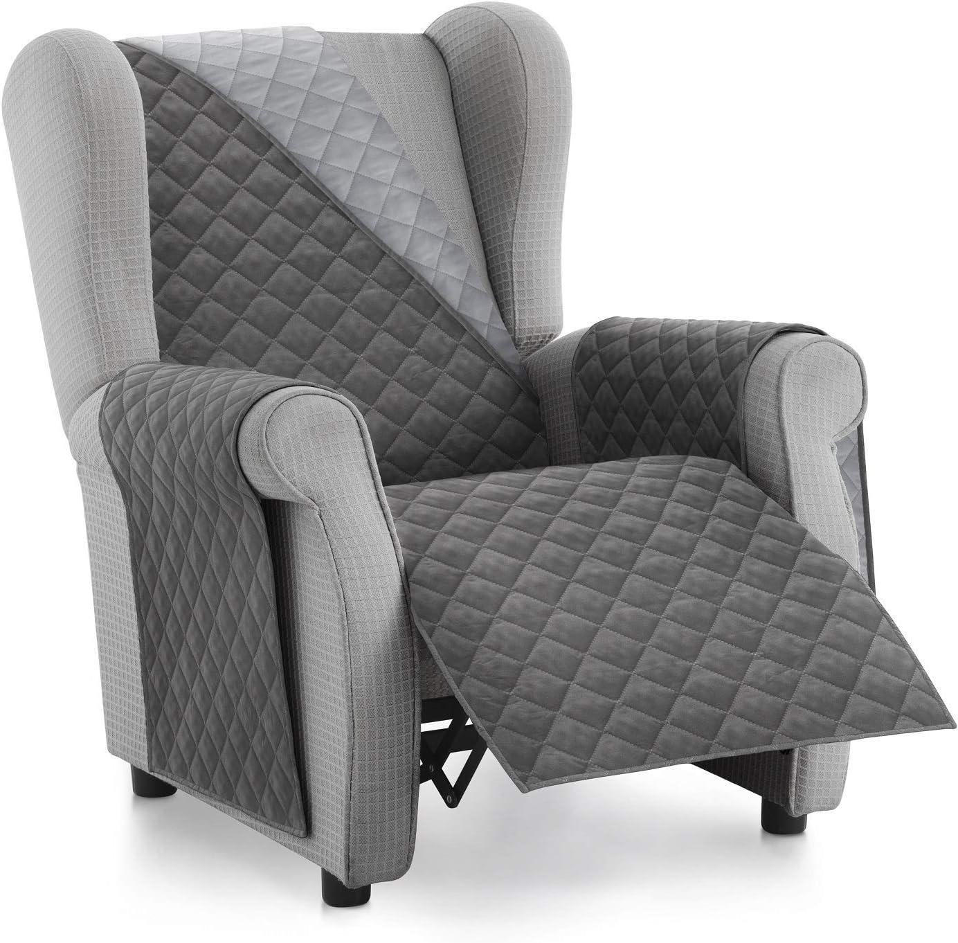 Textilhome - Funda Cubre Sofá Malu -1 Plaza - Relax - Protector para Sofás Acolchado Reversible. Color Gris C/3