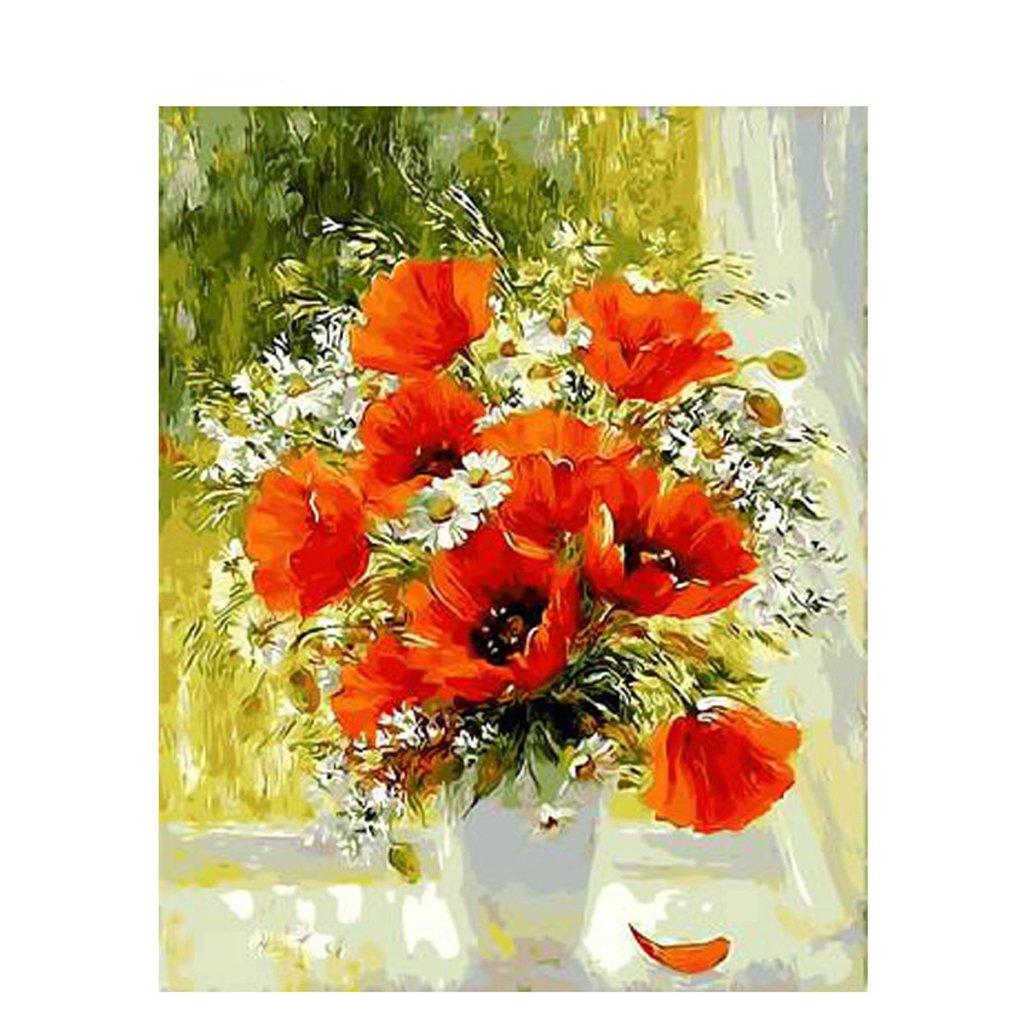 CUIGUFrameless Series Diy Oil Painting, Paint by Number Kit - Poppy Flower Vase - 16