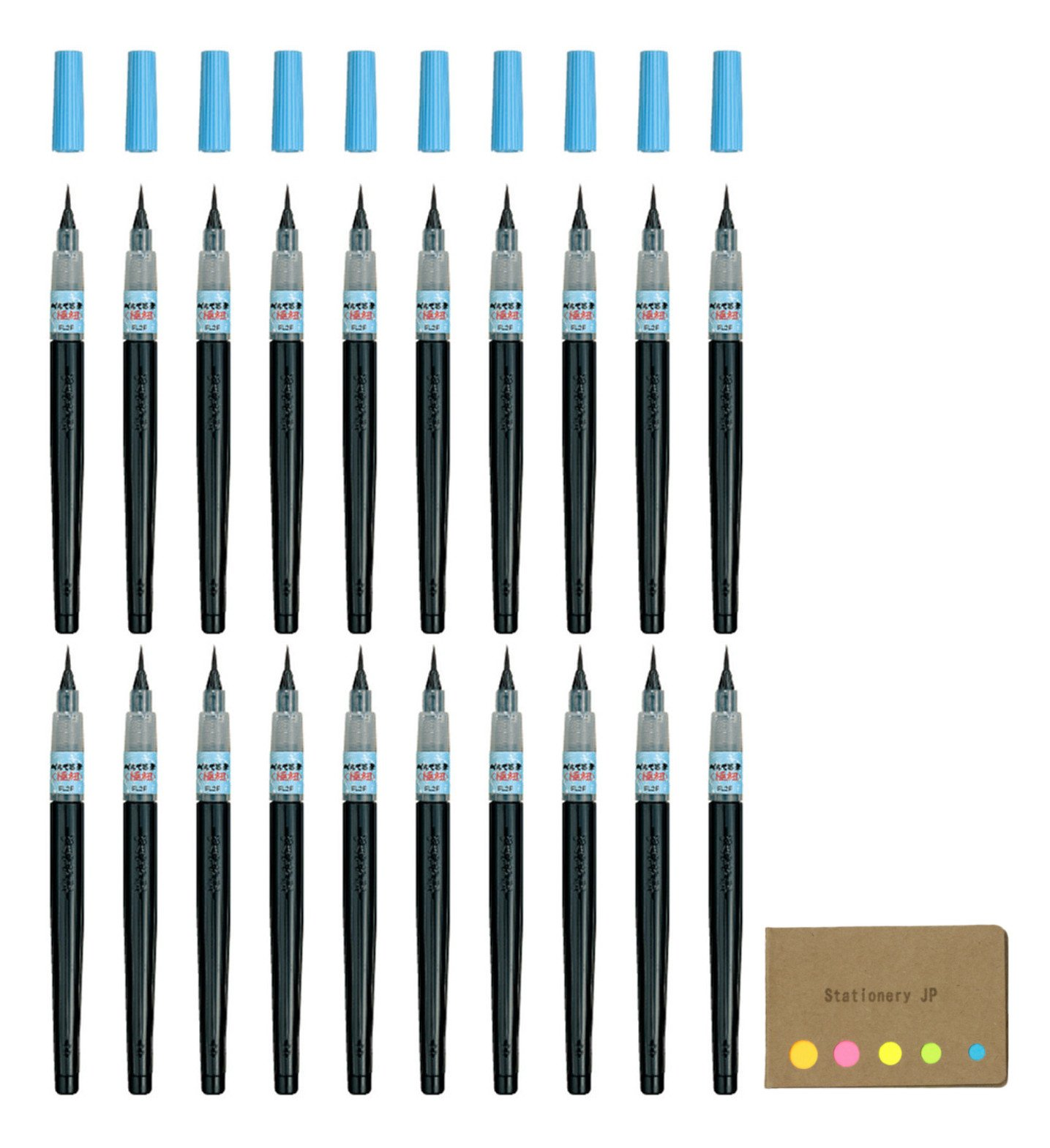 Pentel Fude Brush Pen, Extra Fine, 20-pack, Sticky Notes Value Set