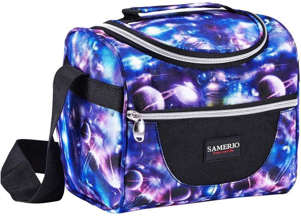 Lunch Box for Kids Insulated Lunch Bag for Boys Girls Cooler Tote Reusable Bento Bags Smooth Zipper& Lightweight Lunch Boxes for Children Student with Adjustable Strap (Starry)