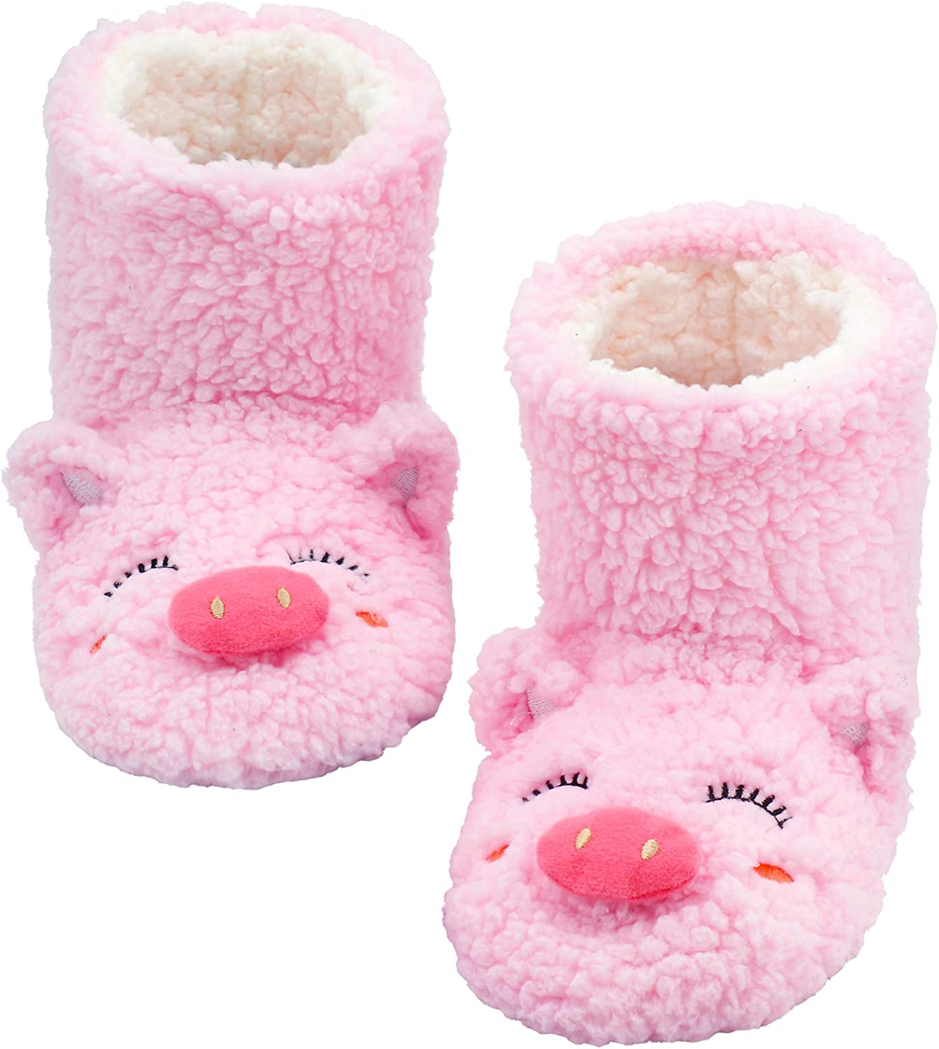 Panda Bros Slipper Socks for Women Cozy Warm Lined Fuzzy Sock Slippers Indoor Booties with Non Slip Grippers