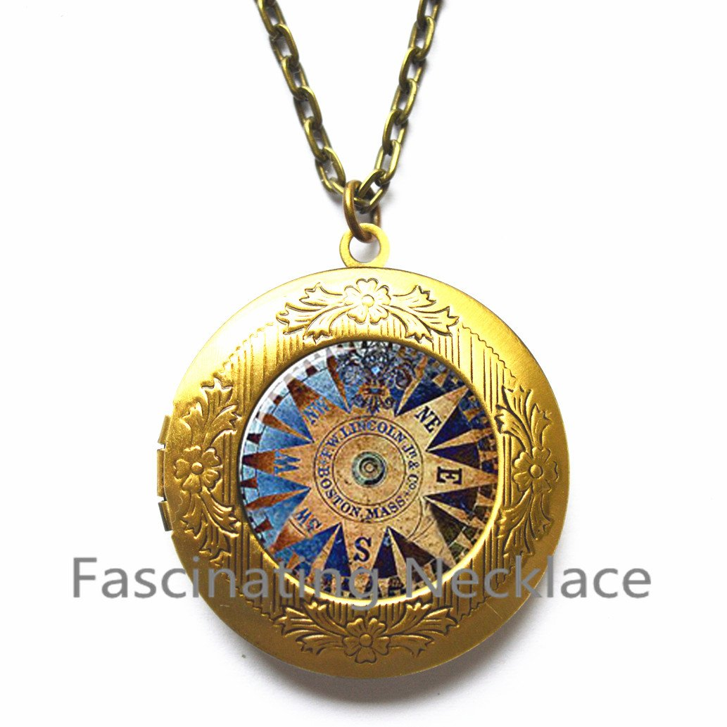 Compass Locket Necklace dial and magnetic needle that always points to the north Locket Necklace glass Photo Nautical Locket Necklace,AQ167