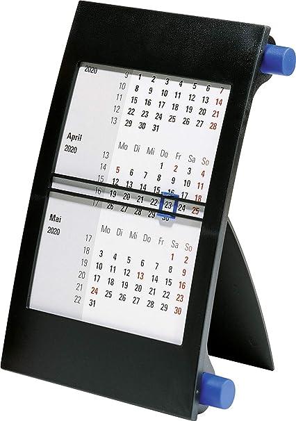 rido//id/é 703800030 Drei-Monats-Tischkalender blauen 1 Seite = 3 Monate, 110 x 183 mm, Kunststoff-Rahmen mit Drehkn/öpfen, Kalendarium 2020 und 2020