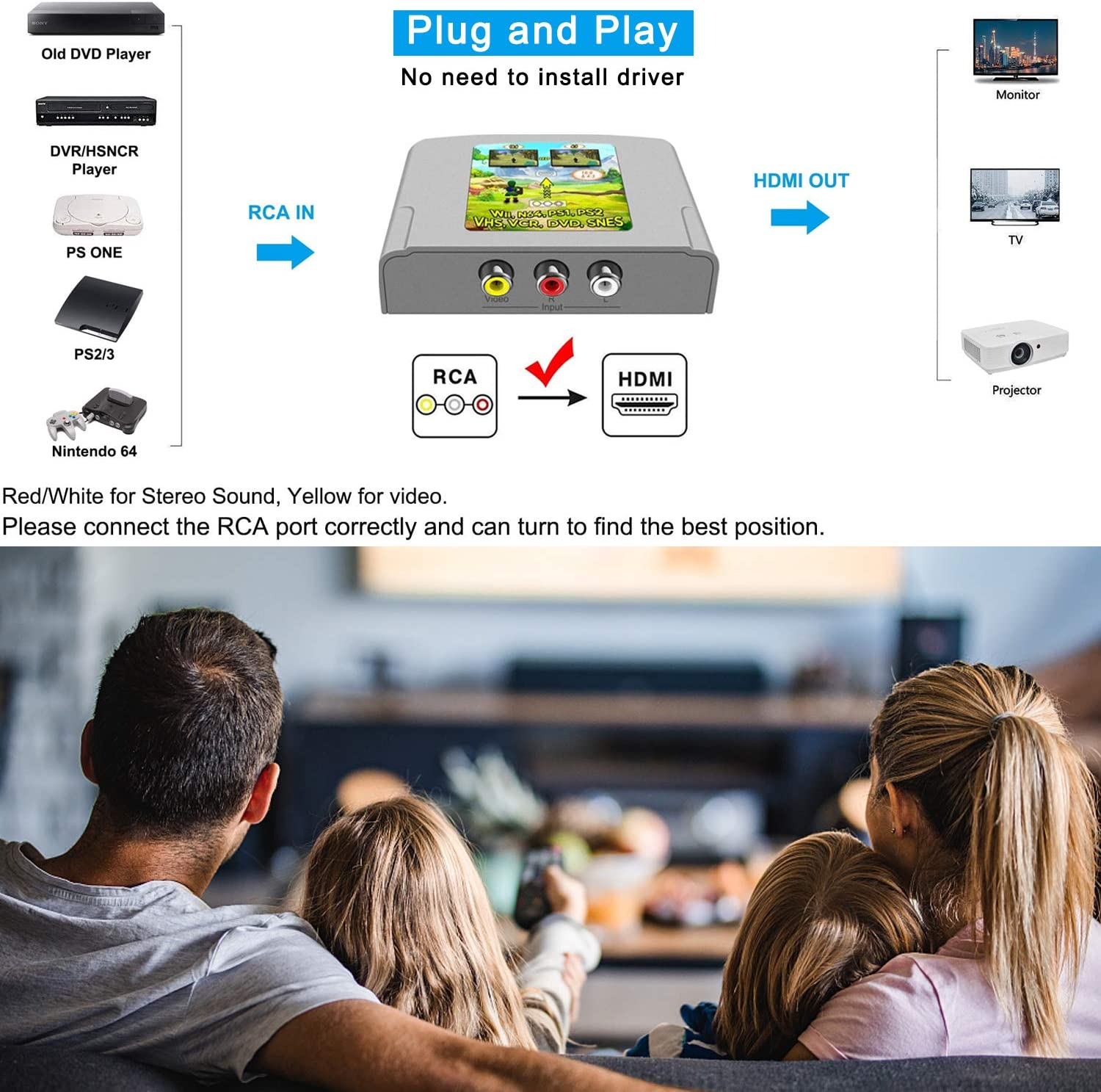 with USB Power Cable RCA to HDMI Converter,RunLin 1080P Mini RCA Composite CVBS AV to HDMI Video Audio Converter Adapter Supports PAL//NTSC for Xbox//PS2//Wii//SNES//N64//VHS//VCR//DVD