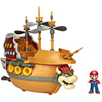 Super Mario Deluxe Bowser's Air Ship Playset with Mario Action Figure – Authentic In-Game Sounds & Spinning Propellers