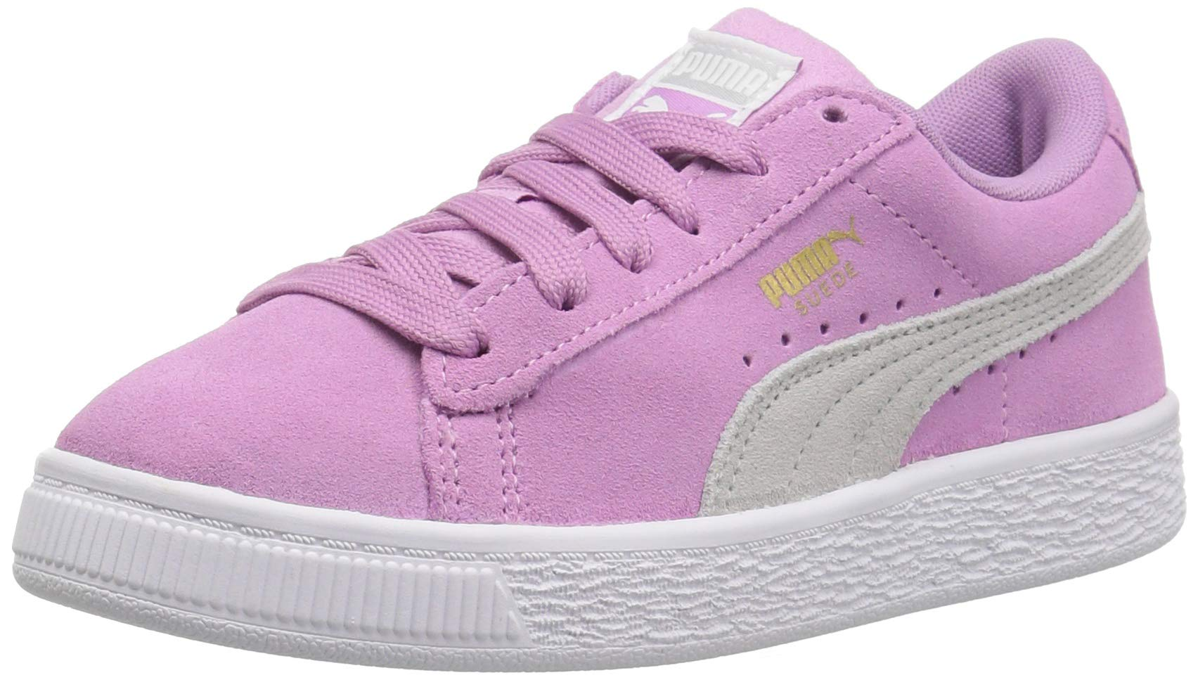 PUMA Unisex Suede Classic Kids Sneaker, Orchid-Gray Violet Team Gold, 2 M US Little