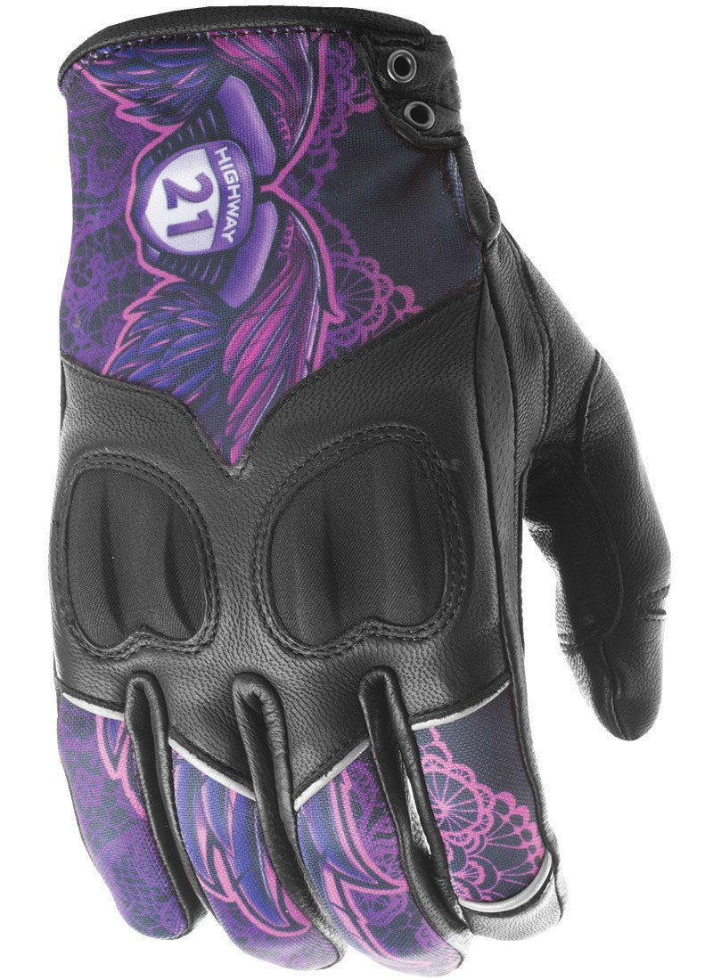 Highway 21 Vixen Womens Motorcycle Gloves Goat Skin Leather Palm Touch Screen Compatible Black//White Size 2XL