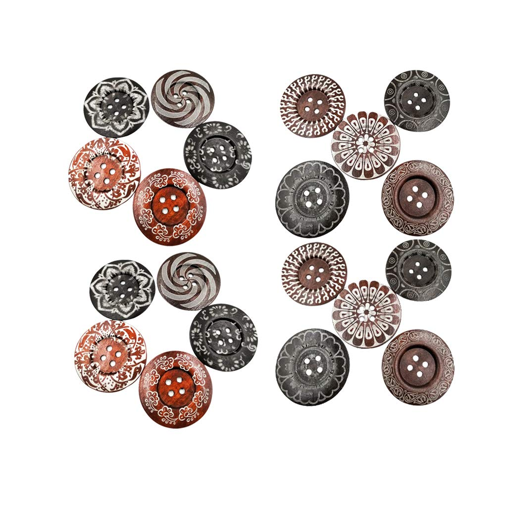 MagiDeal 20 Pieces Vintage Wooden Round Buttons Sewing Buttons DIY Scrapbooking 60mm