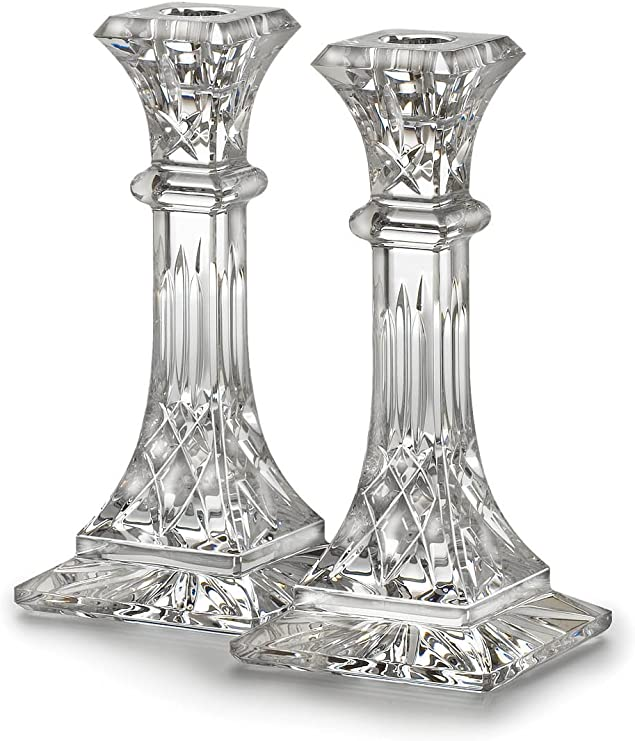 Set of 2 Waterford Crystal Lismore 6-Inch Candlestick Holders