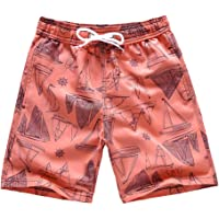 Boys Swim Trunks, Quick Dry Beach Swim Shorts Little Boys Bathing Suit Swimsuit with Mesh Lining, 3-14 Years
