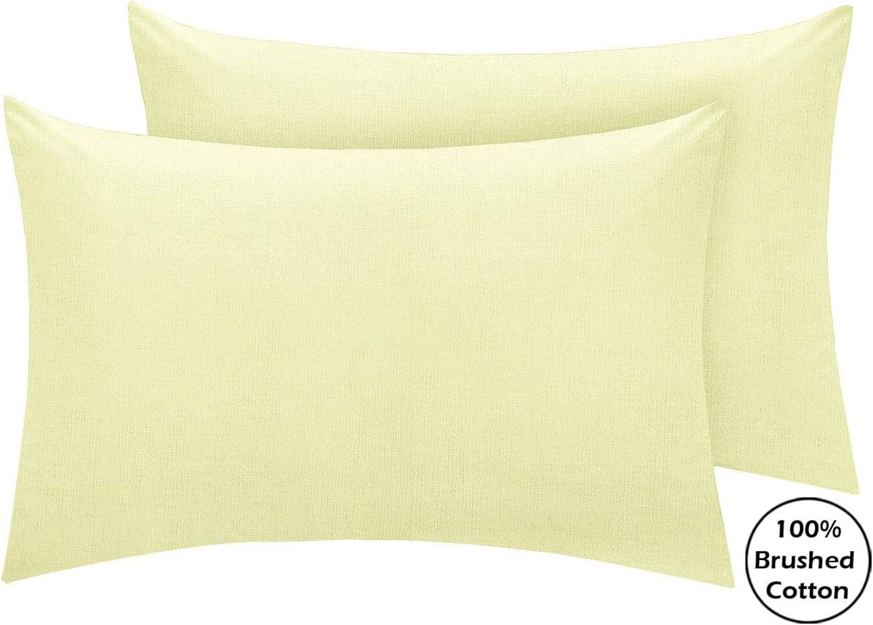 Sábanas bajeras ajustables de franela, 100 % algodón cepillado, 40 cm de profundidad, algodón, crema, set de 2 fundas de almohada: Amazon.es: Hogar