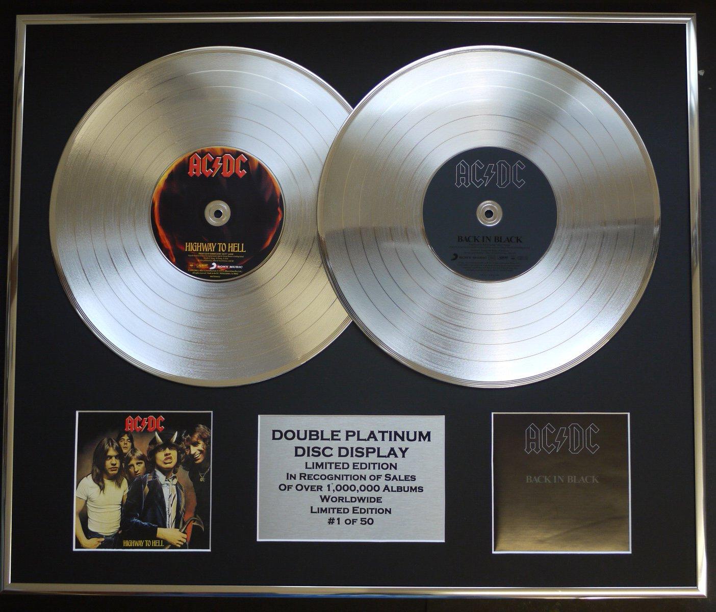 AC DC Zweifache Platin Schallplatte DISPLAY Limitierte Edition COA HIGHWAY TO HELL & BACK IN BLACK